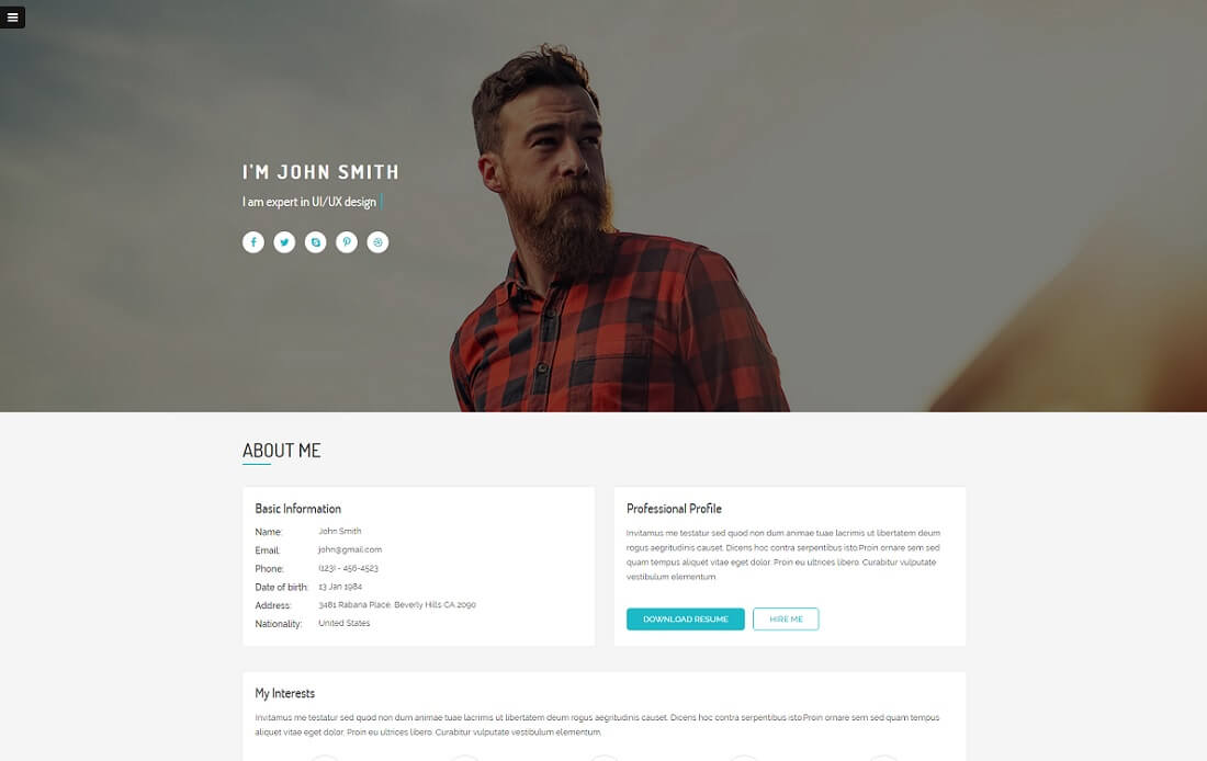 ultra HTML resume cv website template