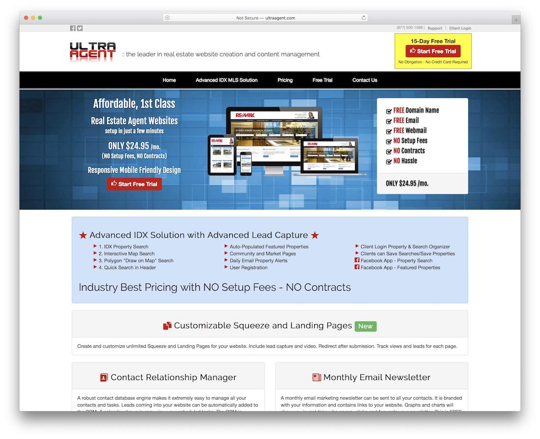 ultra agent real estate website builder