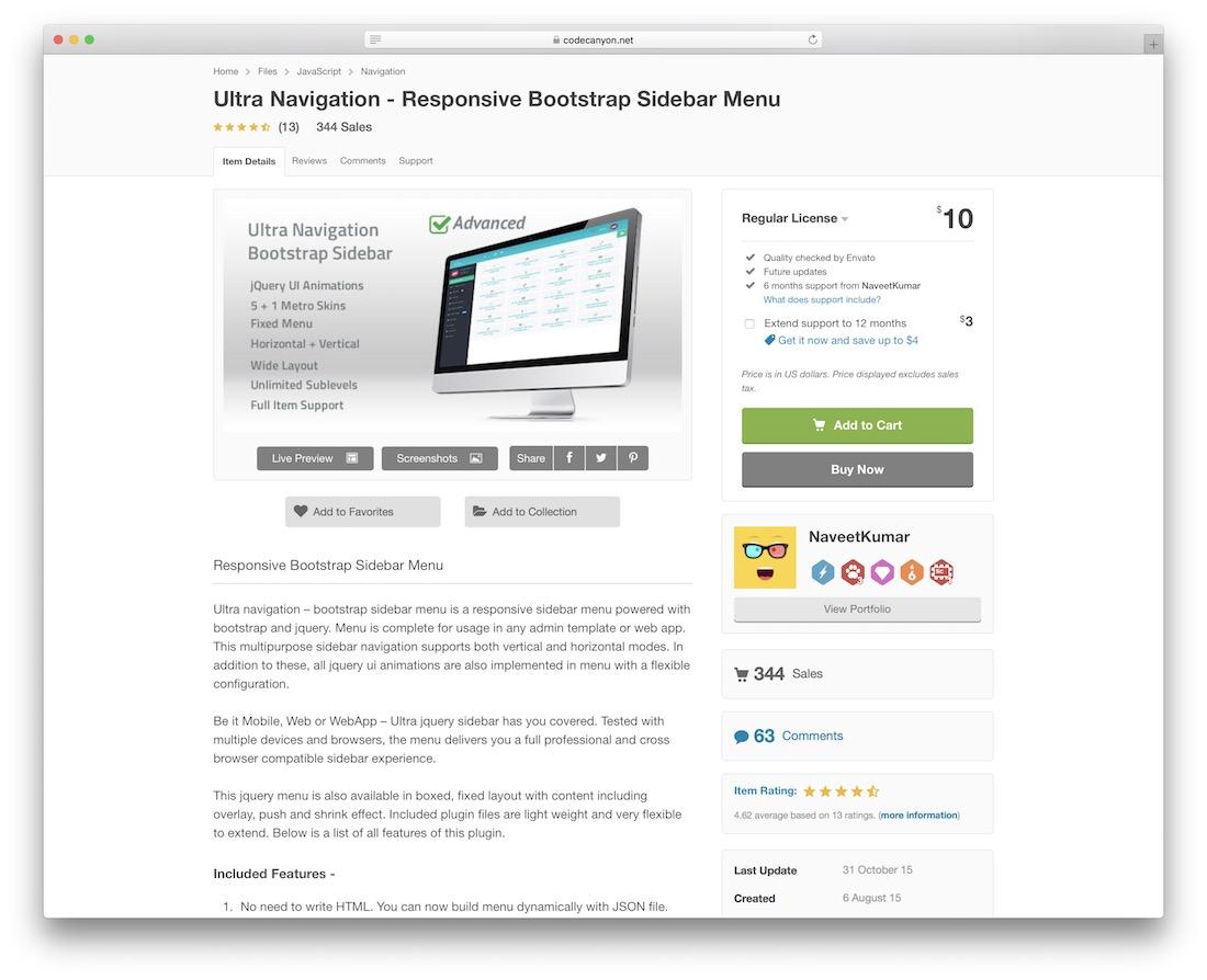 ultra navigation responsive bootstrap sidebar menu