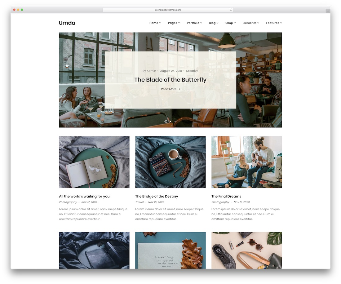 umda blog website template