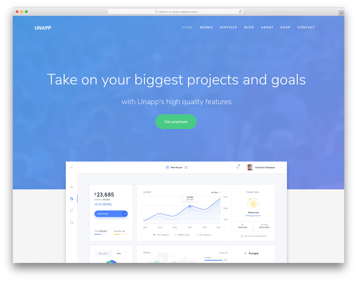 unapp free business app website template colorlib