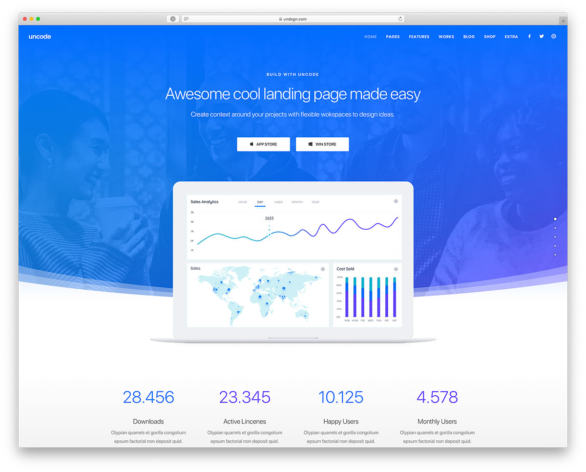 Uncode - New tech startup WordPress theme