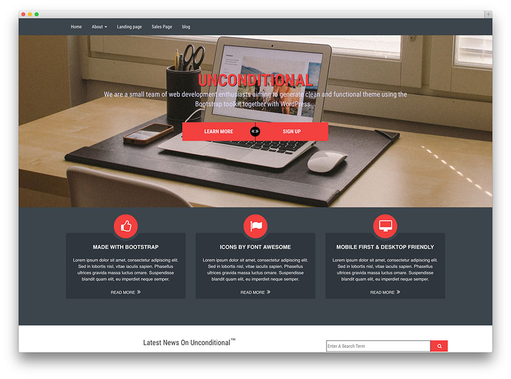 unconditional - flat design corporate theme