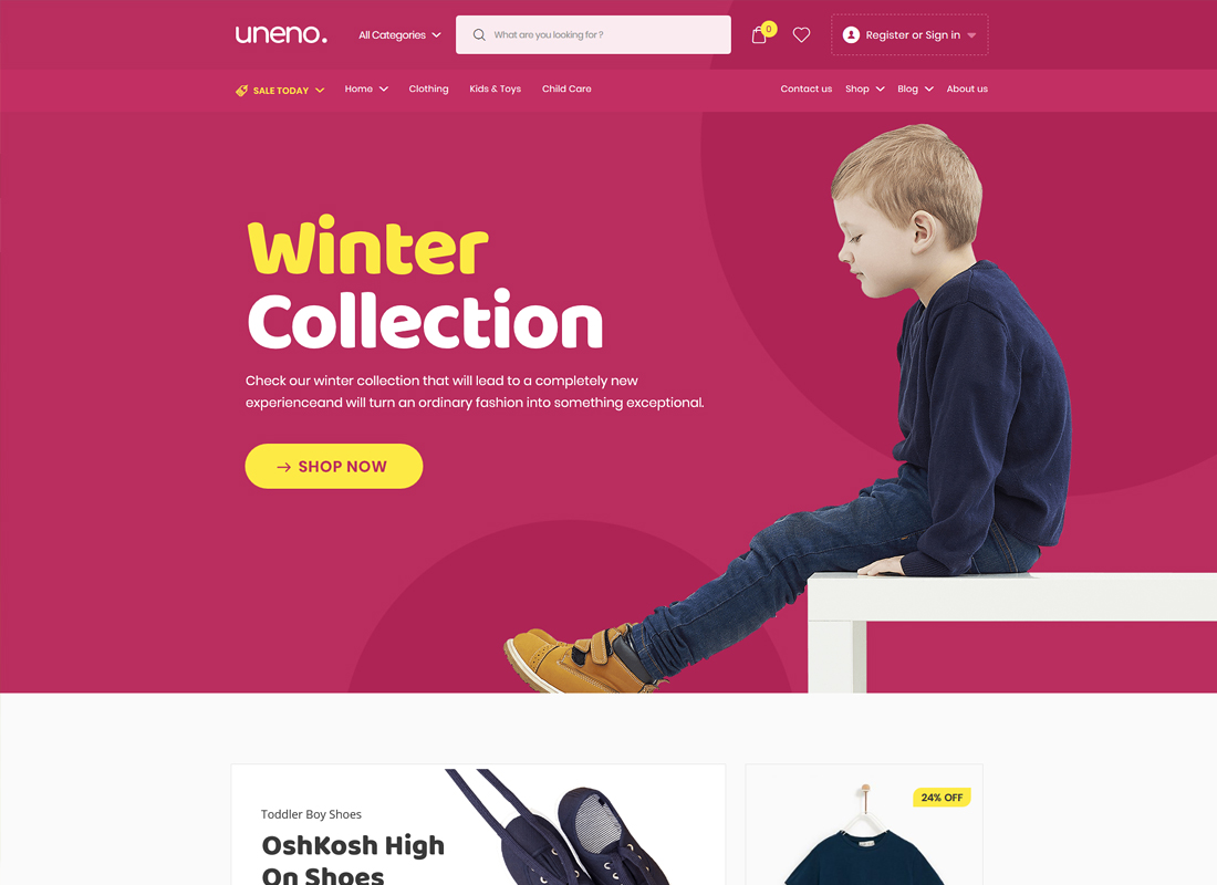 Uneno | Kids Clothing & Toys Store WooCommerce Theme