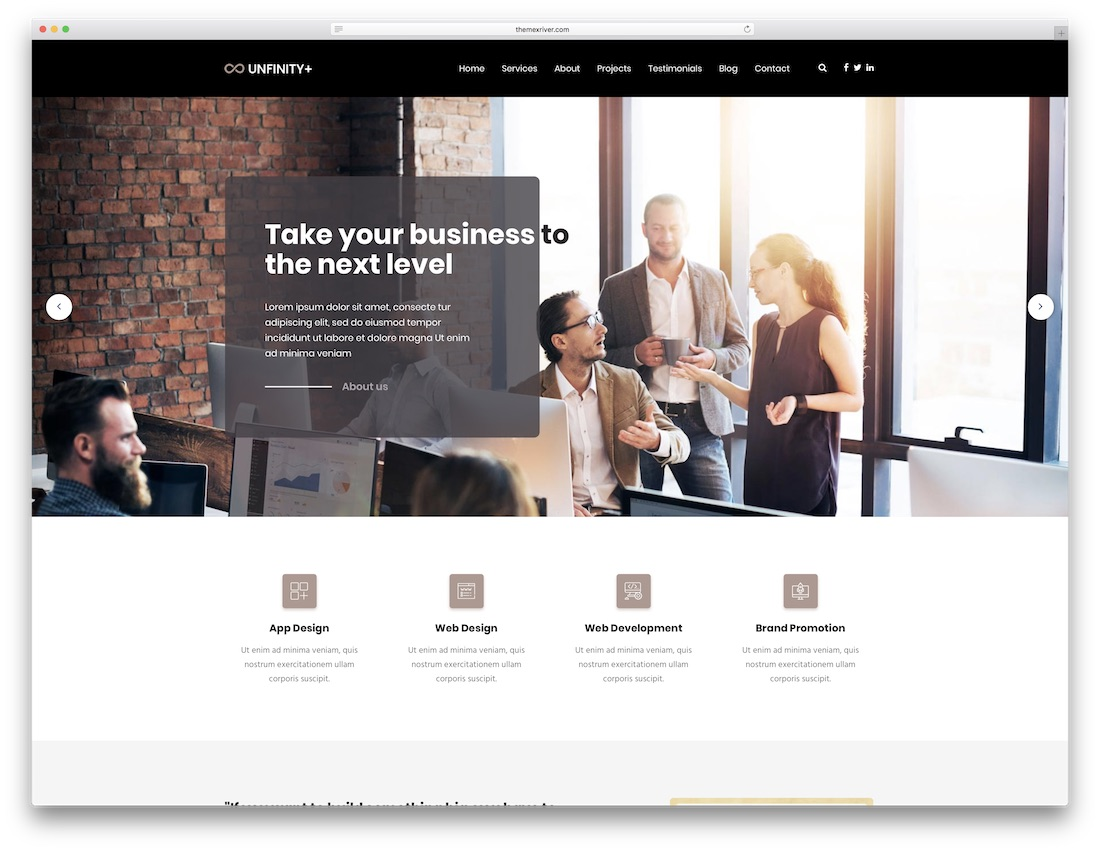 unfinityplus html5 one page website template