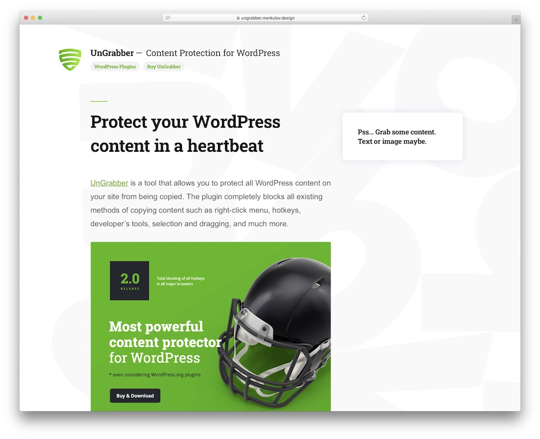 ungrabber wordpress content protection plugin