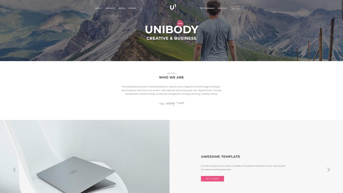 unibody writer website template