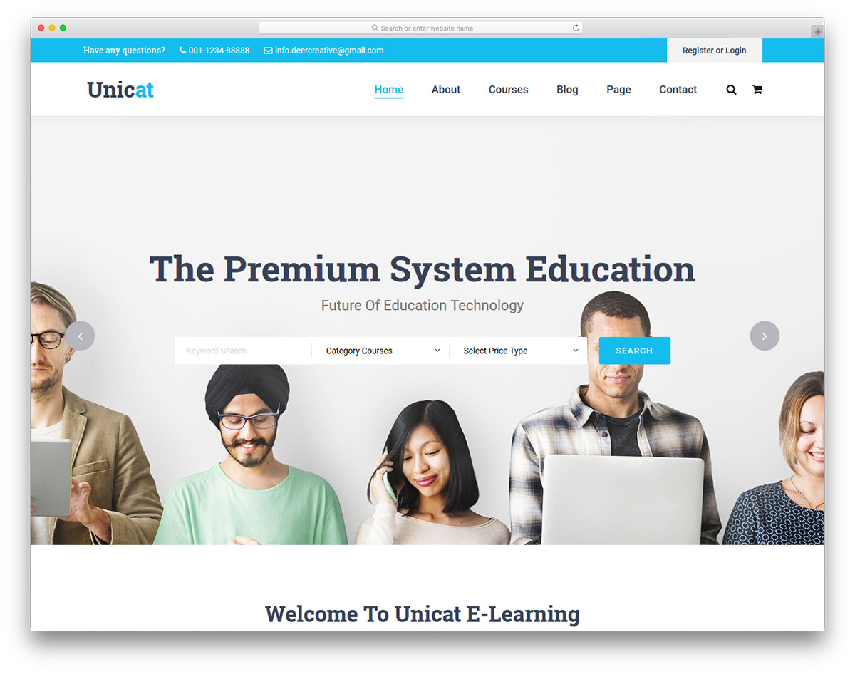 unicat - free e-learning website template - colorlib