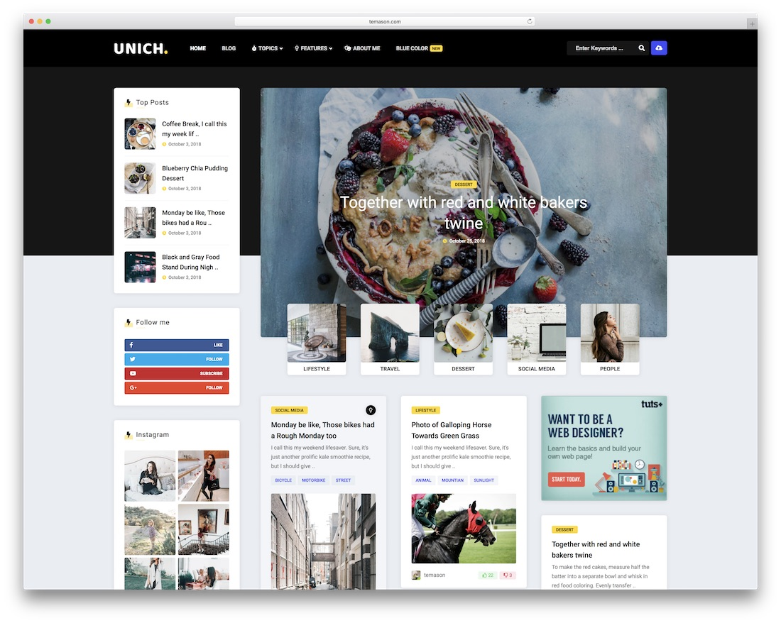 unich wordpress food blog theme