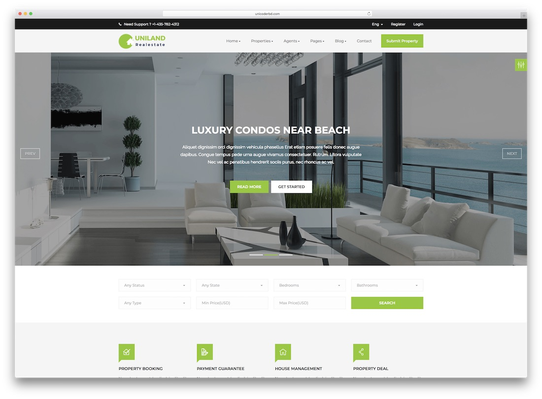 uniland real estate website template