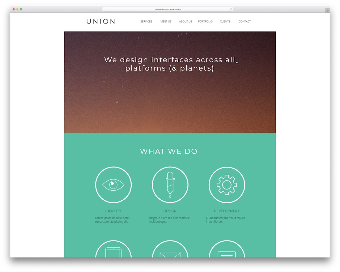 union free adobe muse template
