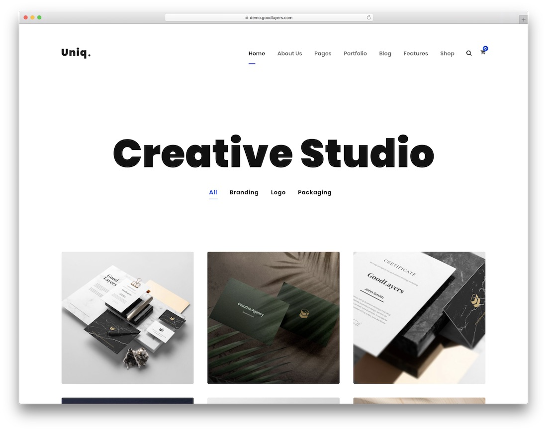uniq minimalist wordpress theme