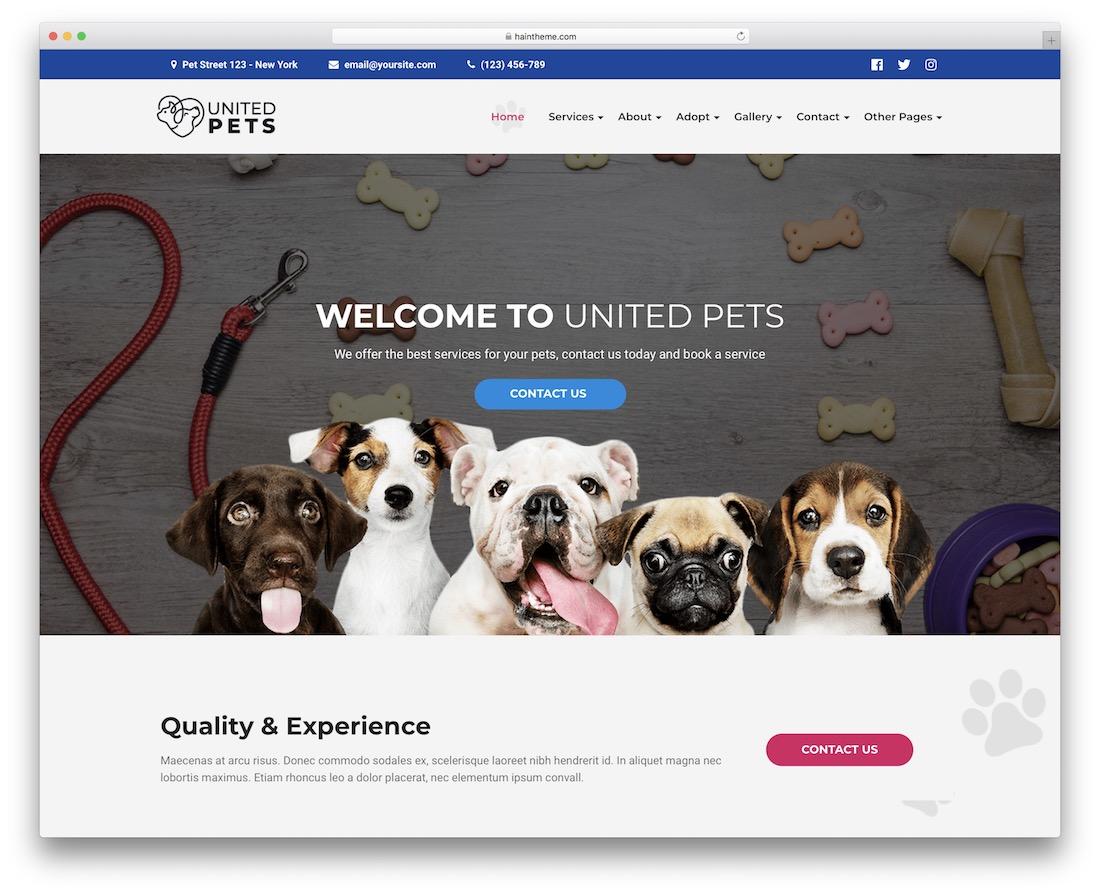 united pets animal wordpress theme