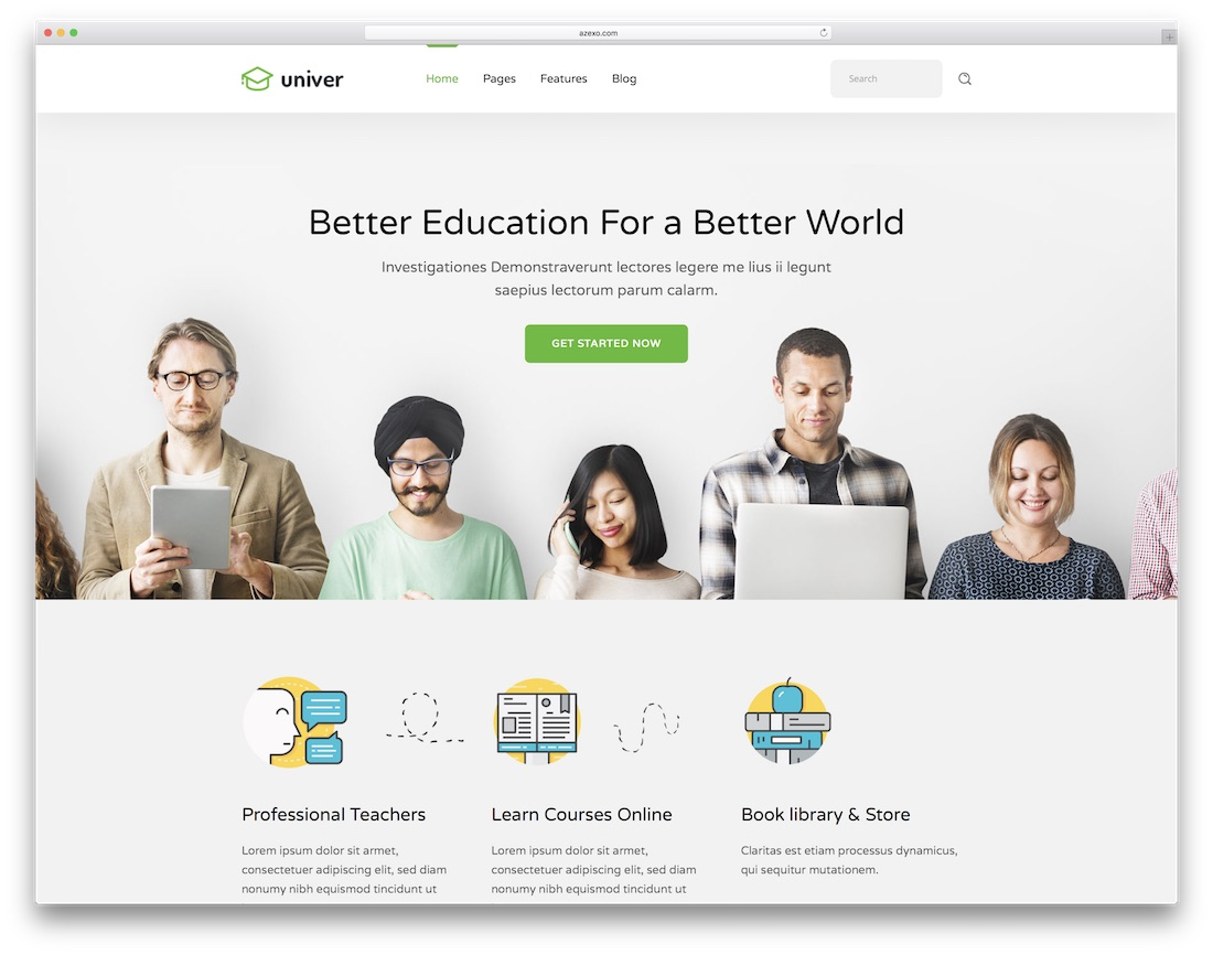 univer website template