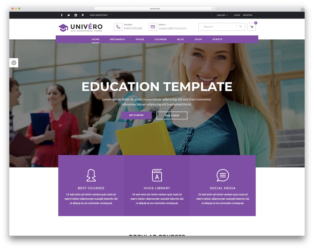 univero education wordpress theme
