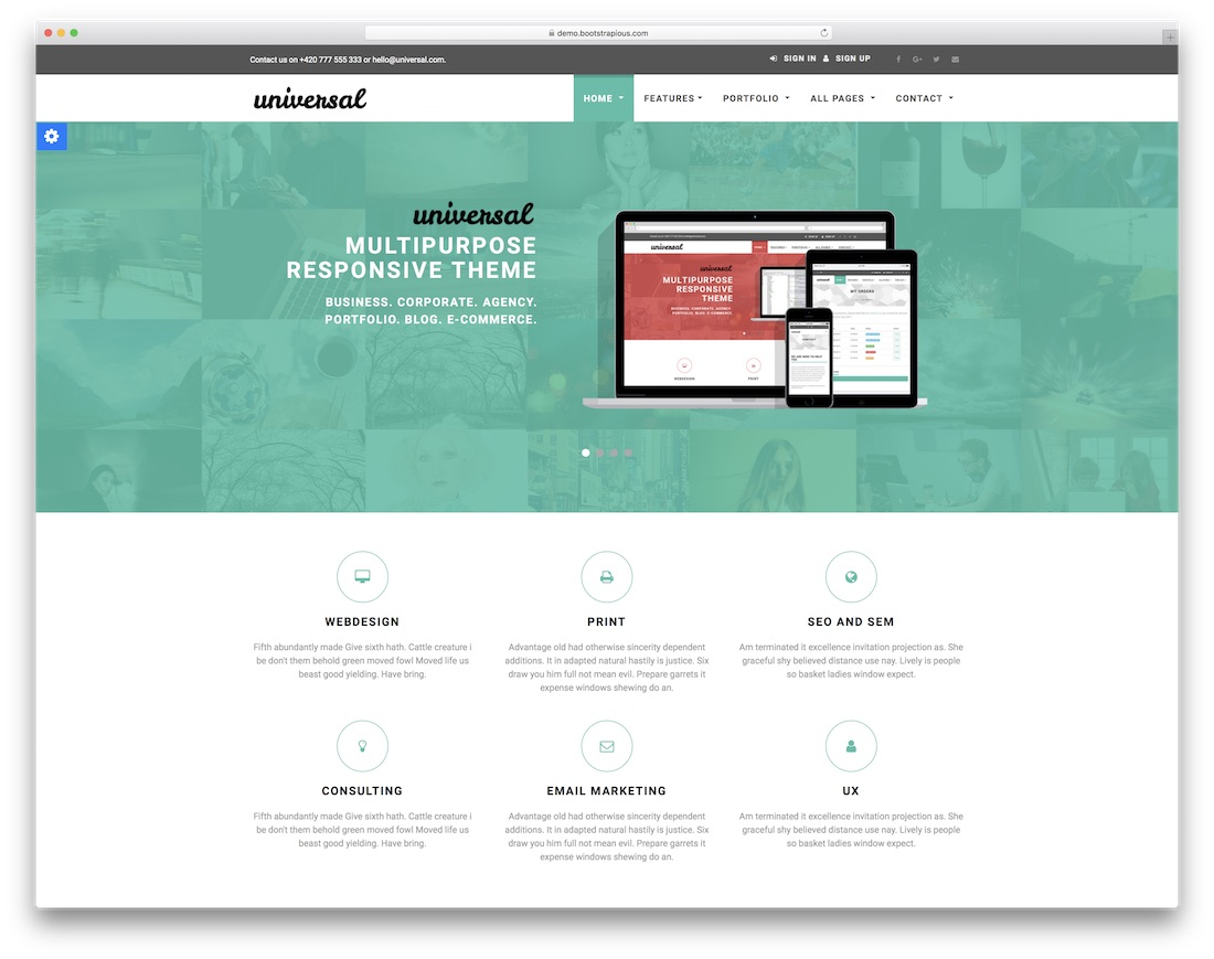 universal free bootstrap ecommerce website template
