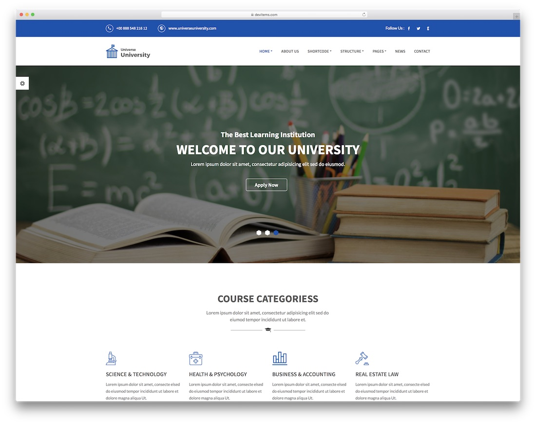 universe community website template