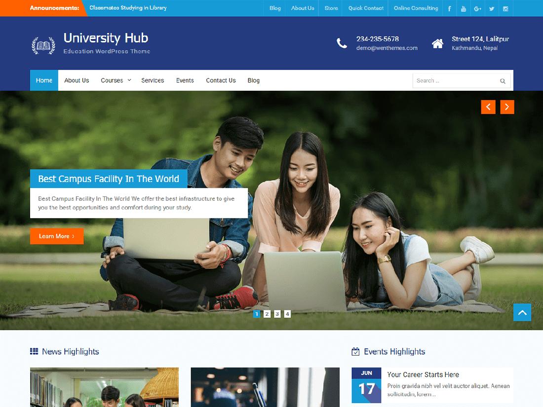 University Hub WordPress Education Theme