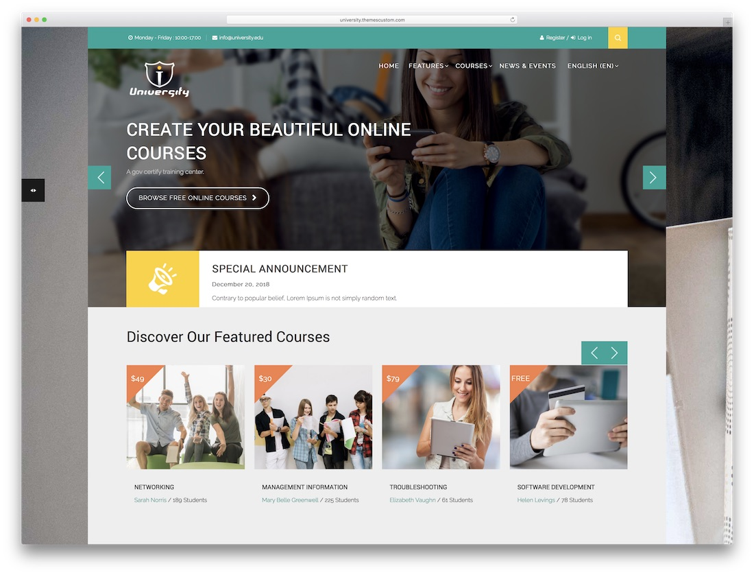 university moodle bootstrap template