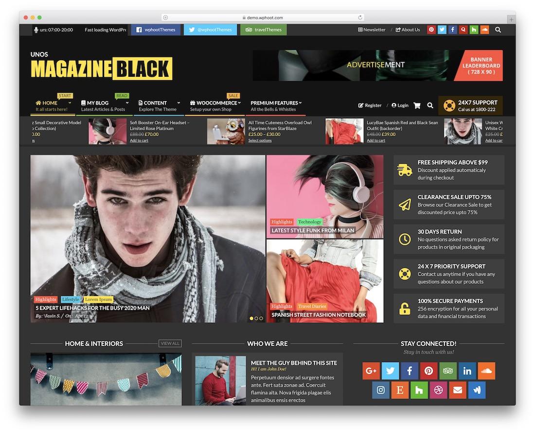 unos free magazine wordpress theme