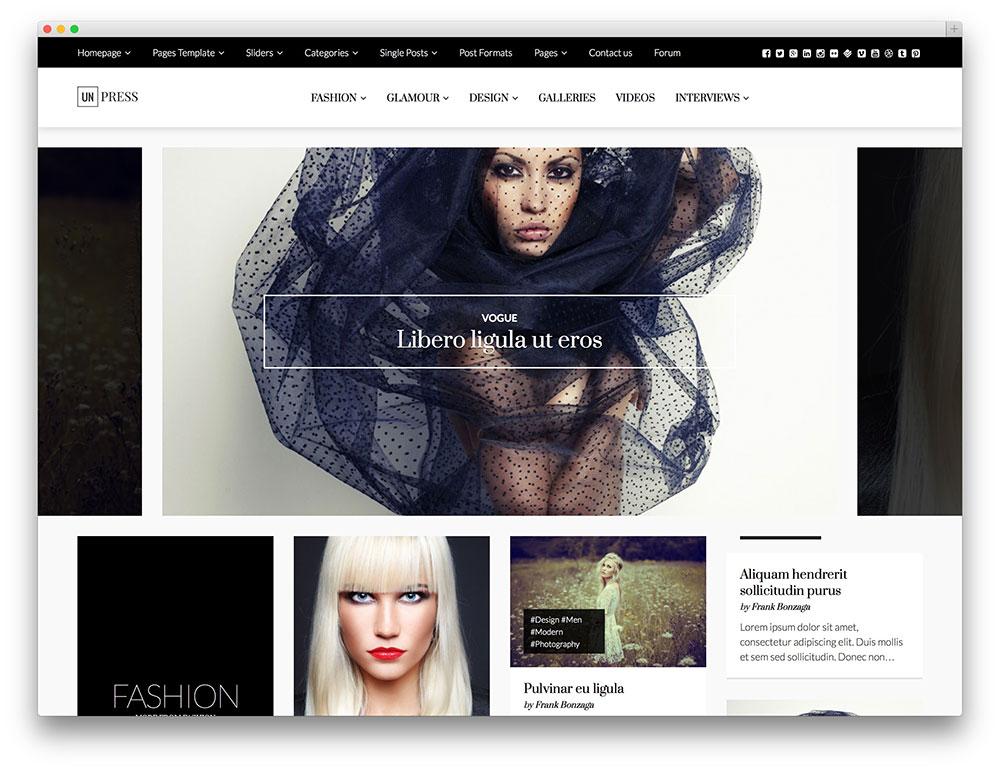unpress fashion magazine theme