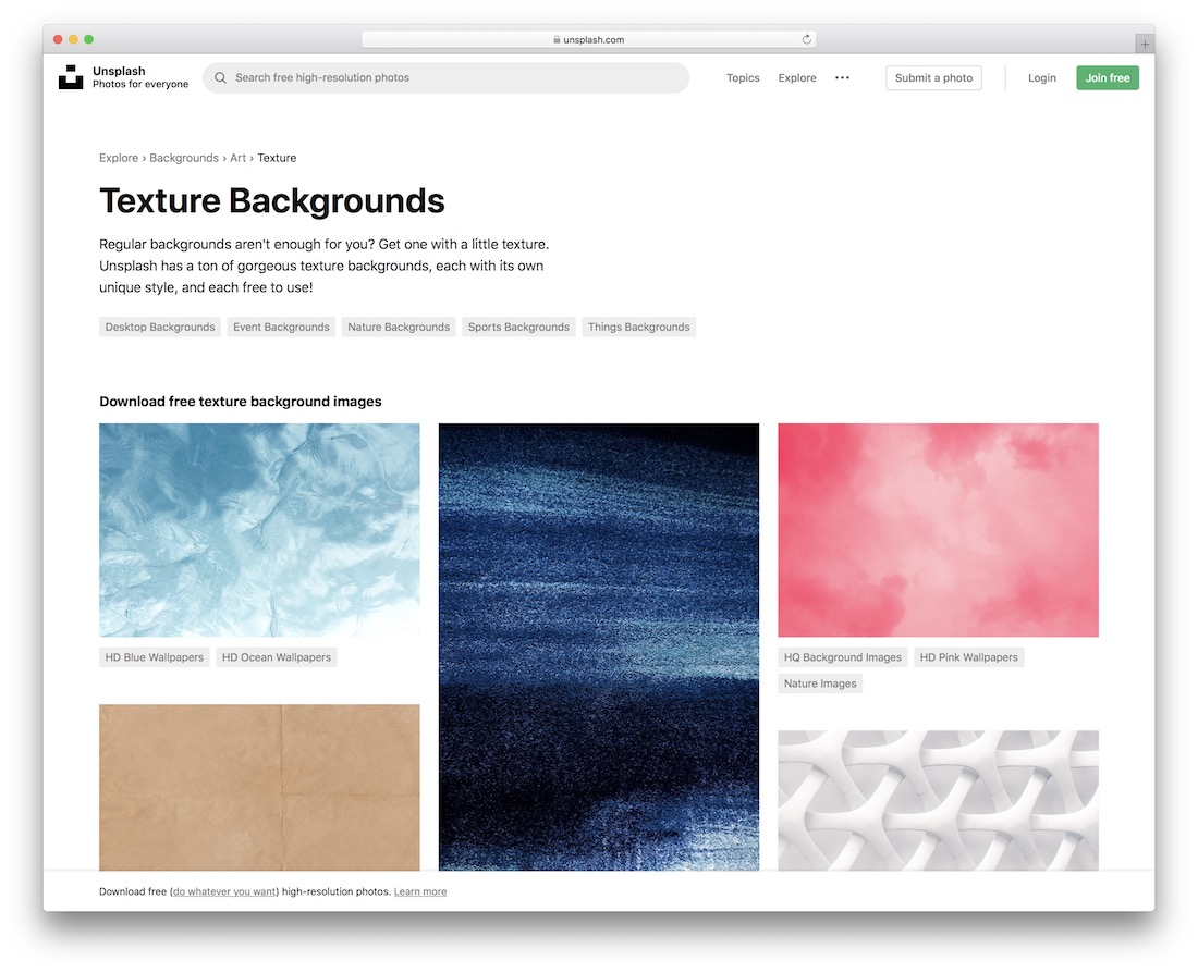 unsplash free textures resource