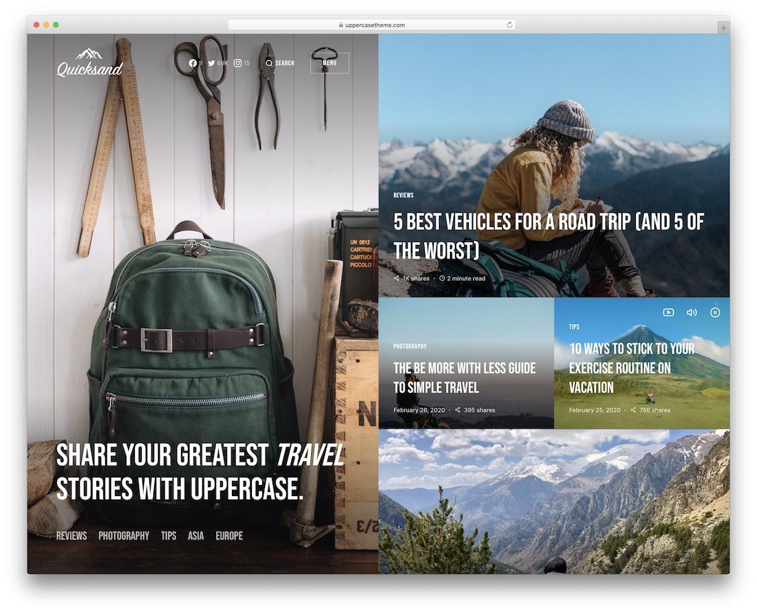 uppercase travel magazine theme