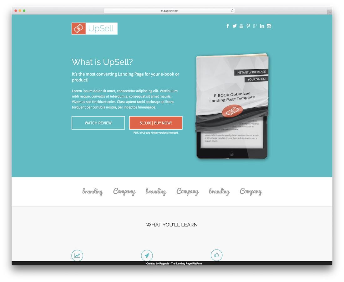 upsell pagewiz landing page template