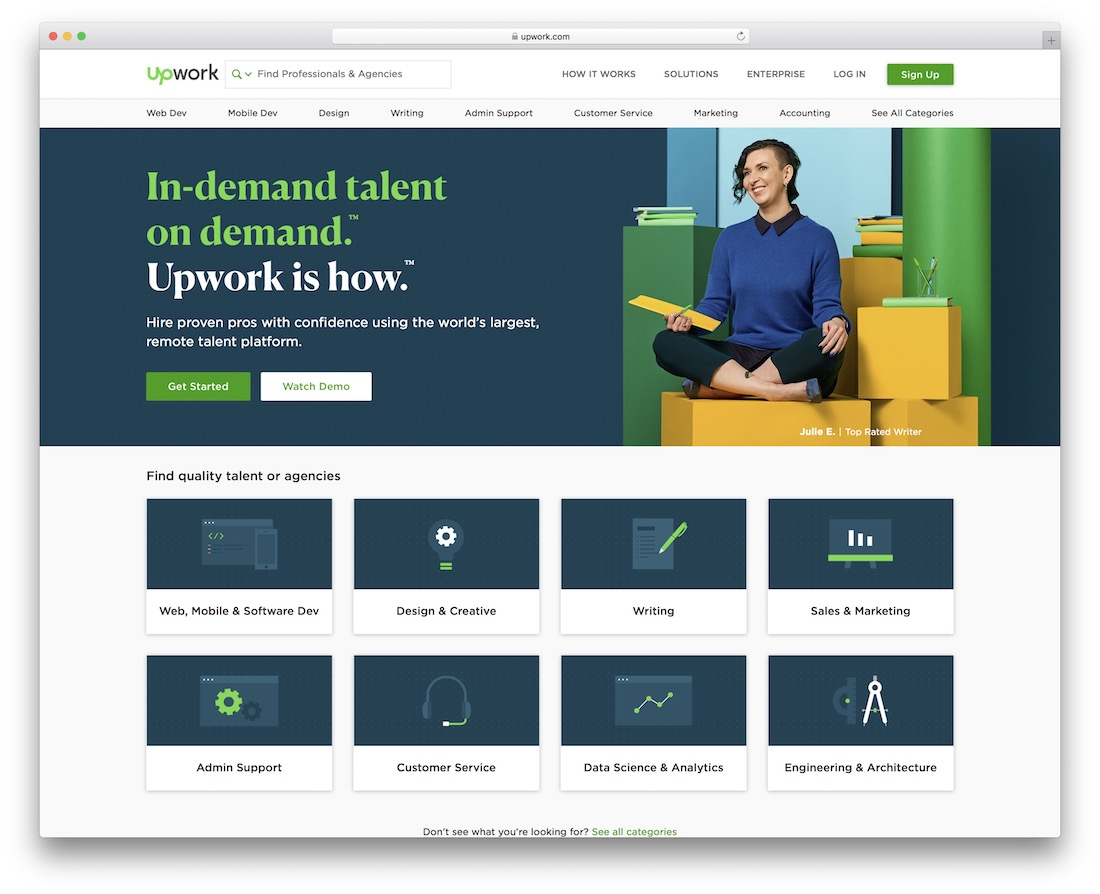 upwork tech startup job board