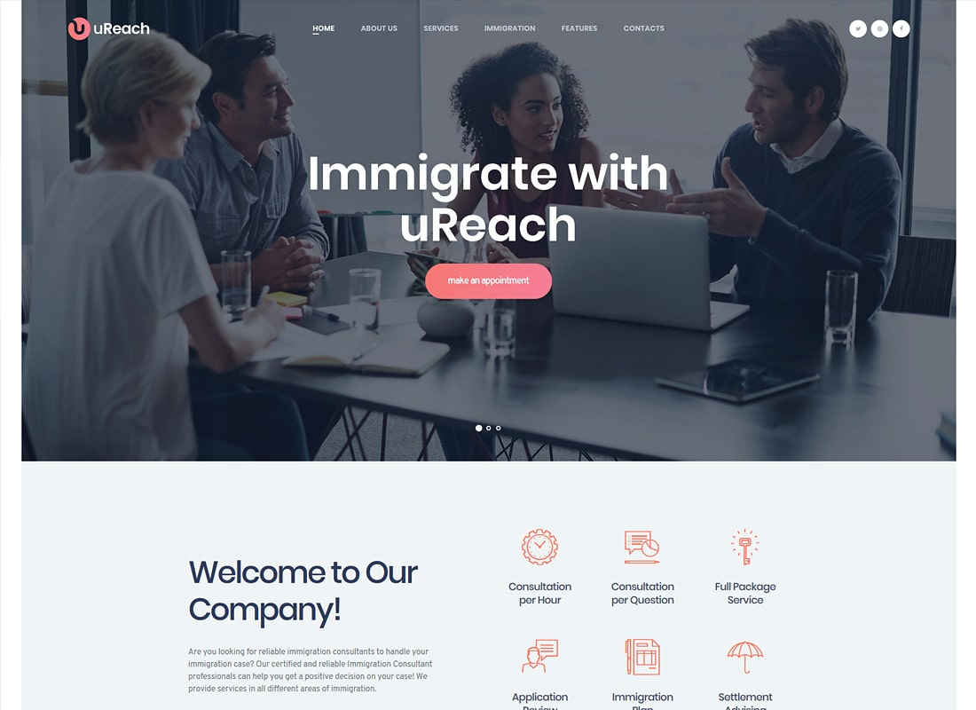 uReach | Immigration Consulting WordPress Theme