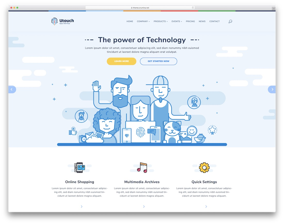 utouch interactive website template