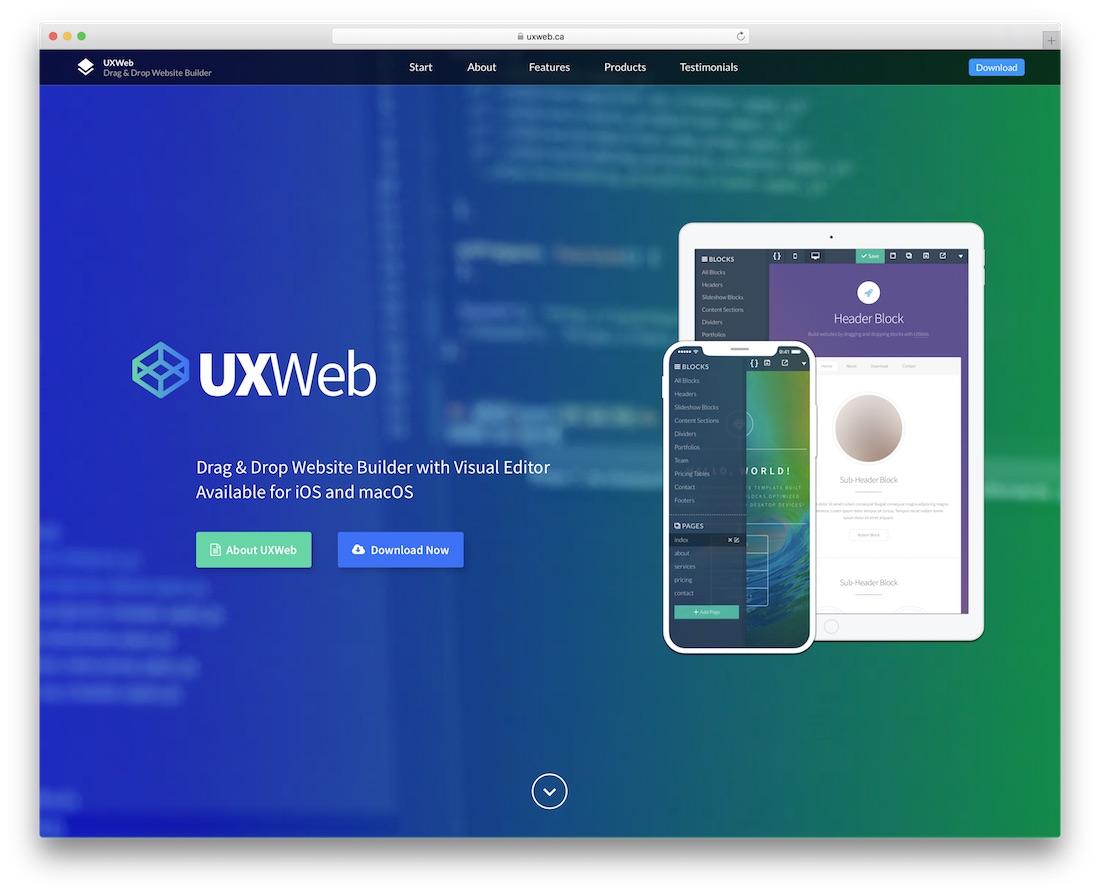 uxweb website builder for mac