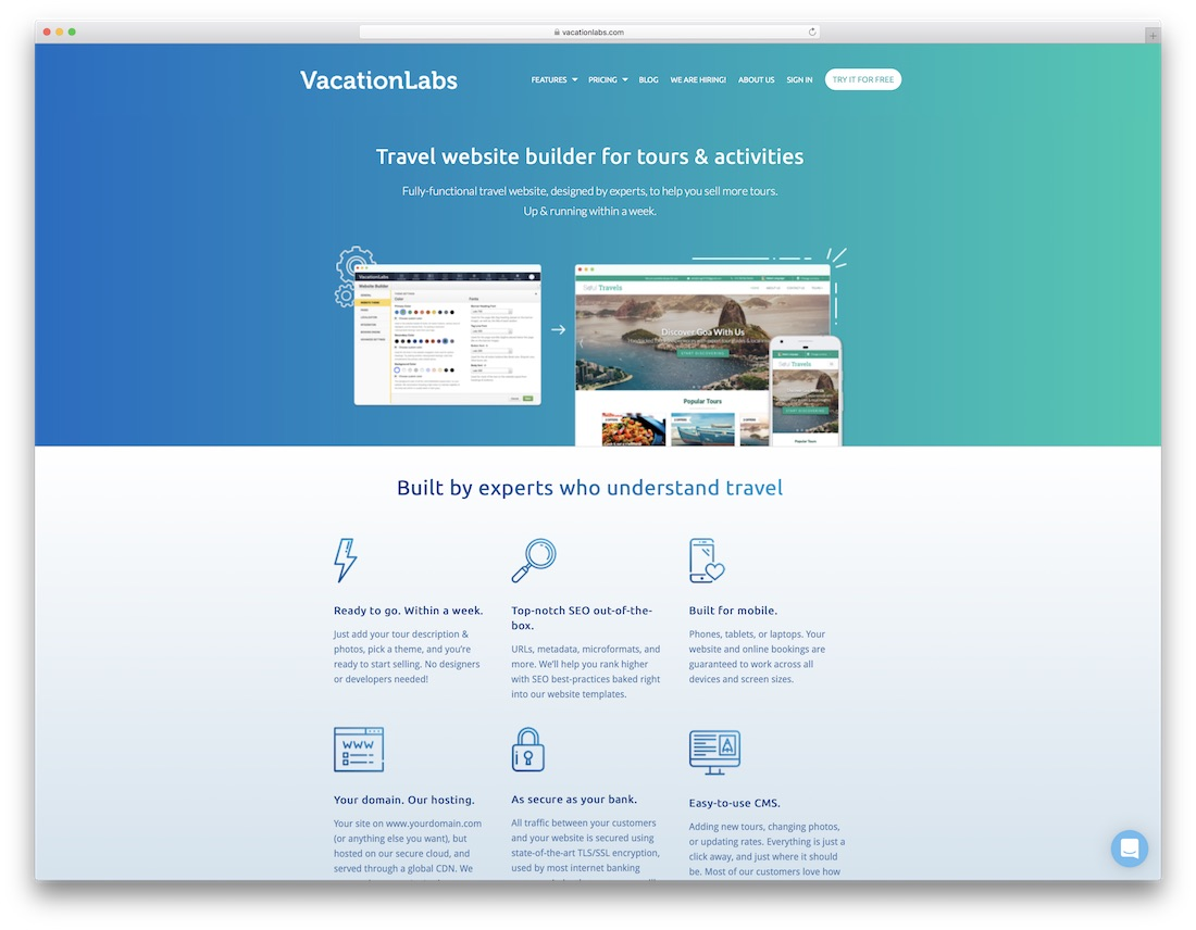 vacationlabs travel agency website builder