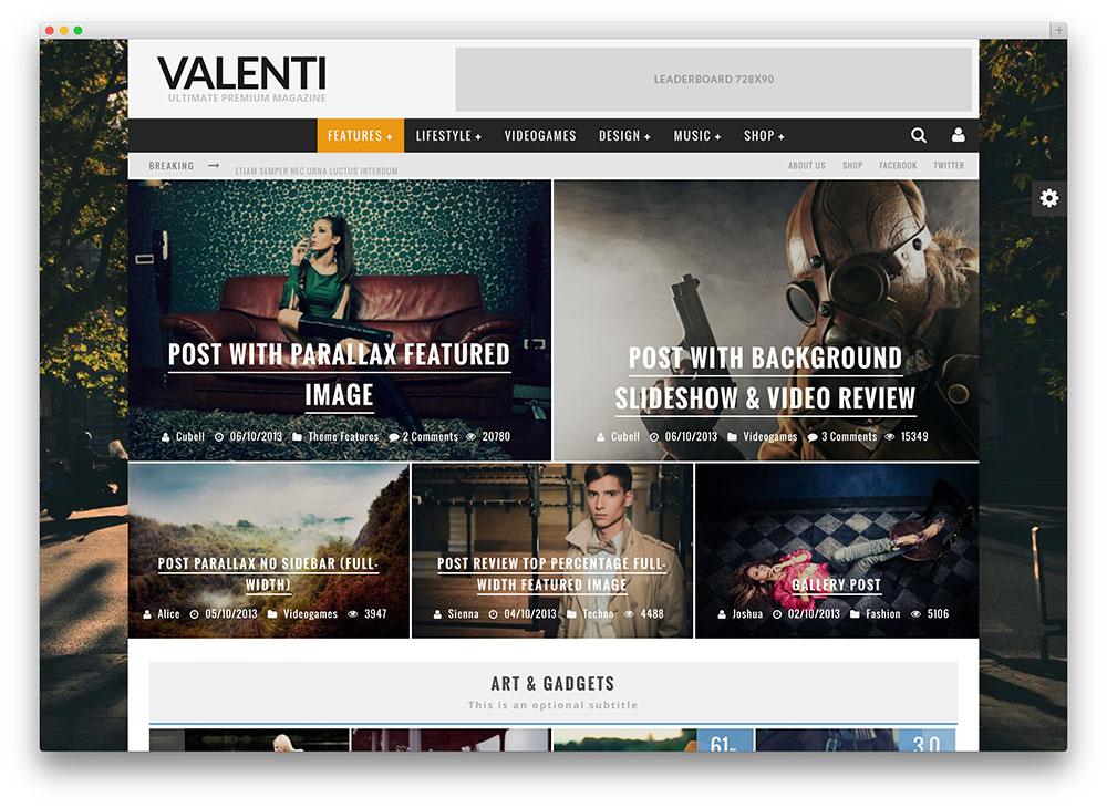 valenti magazine style theme