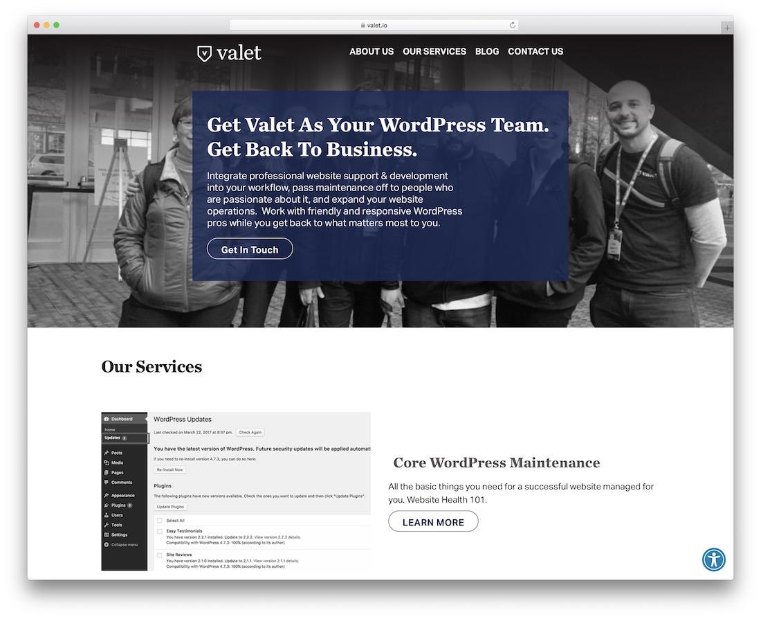 valet wordpress maintenance service