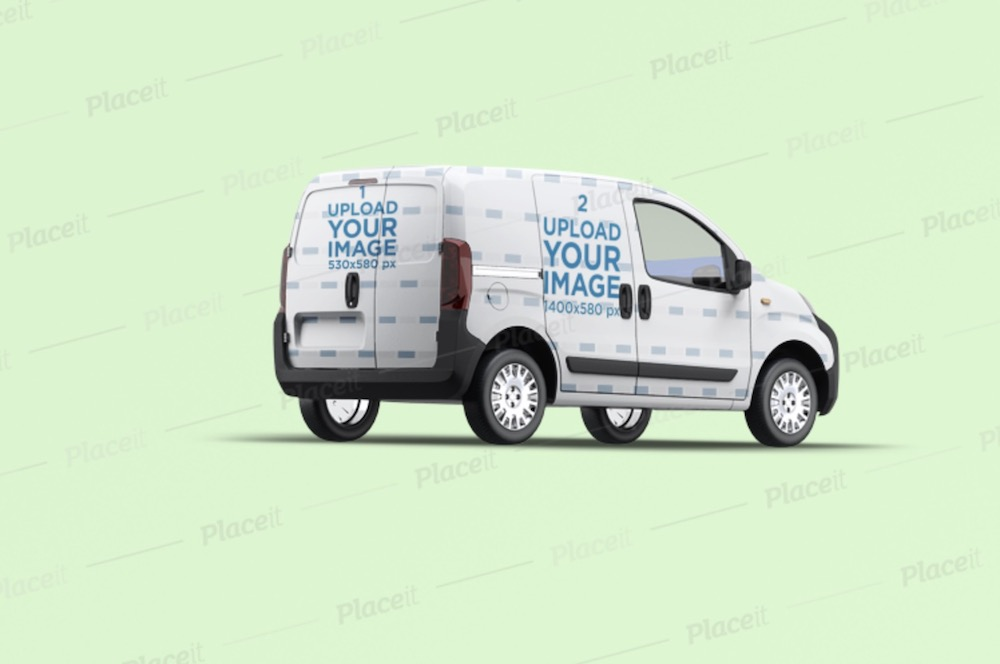 van wrap mockup with a customizable background
