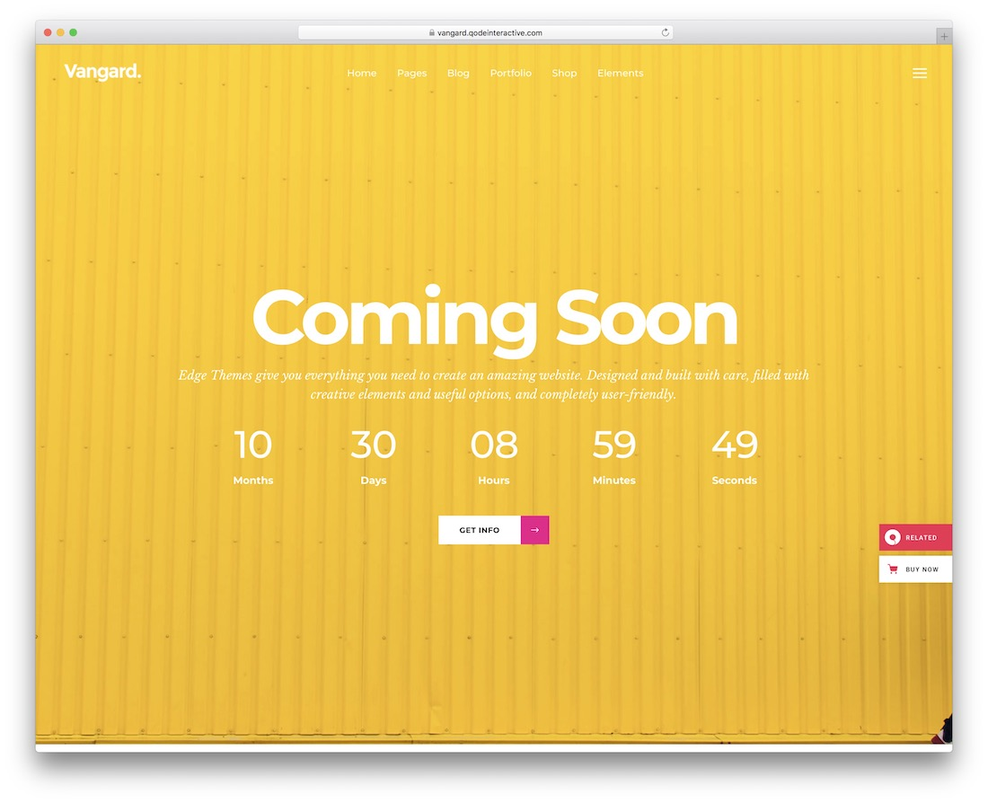 vangard coming soon wordpress theme