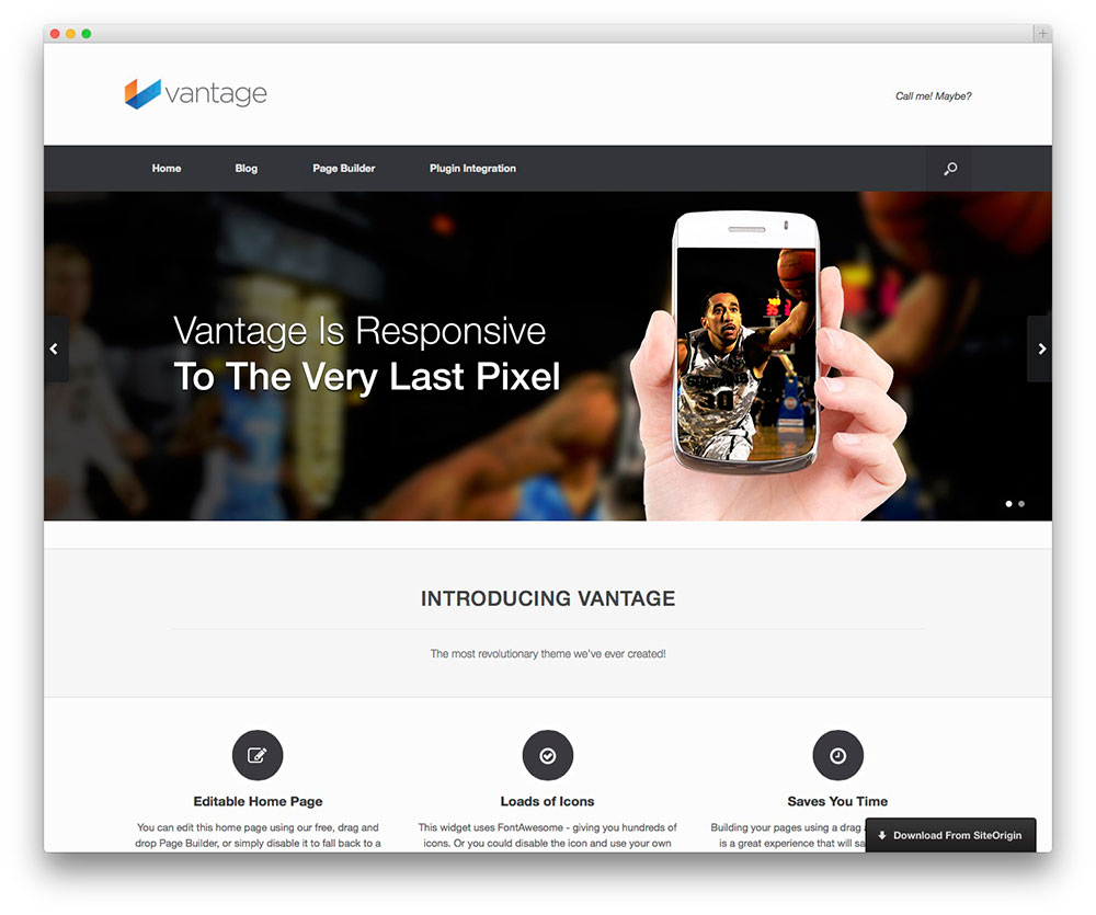 Vantage - free app showcase theme