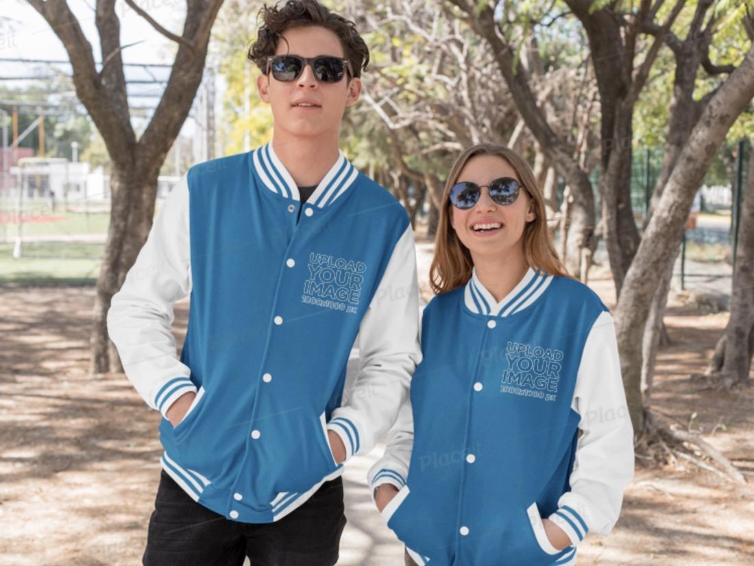 varsity jacket mockup of a man and a woman
