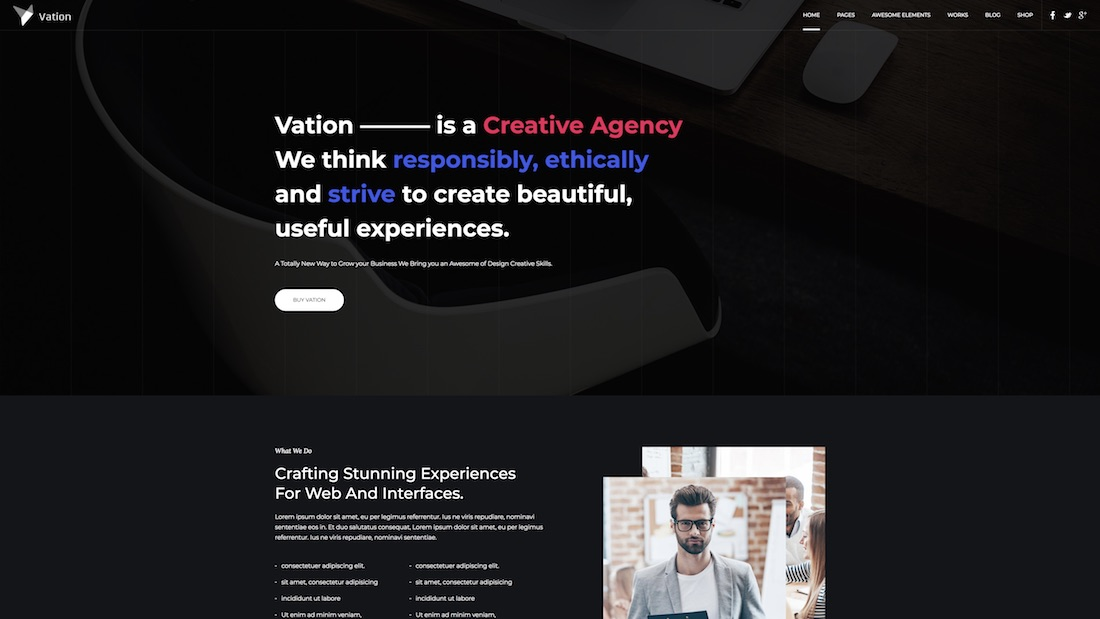 vation website template
