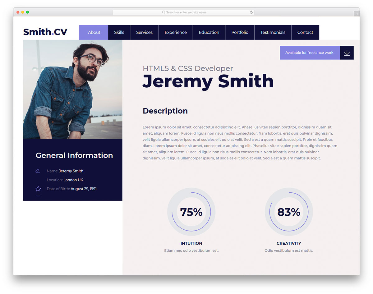 vcard2 - free vcard website template 2019