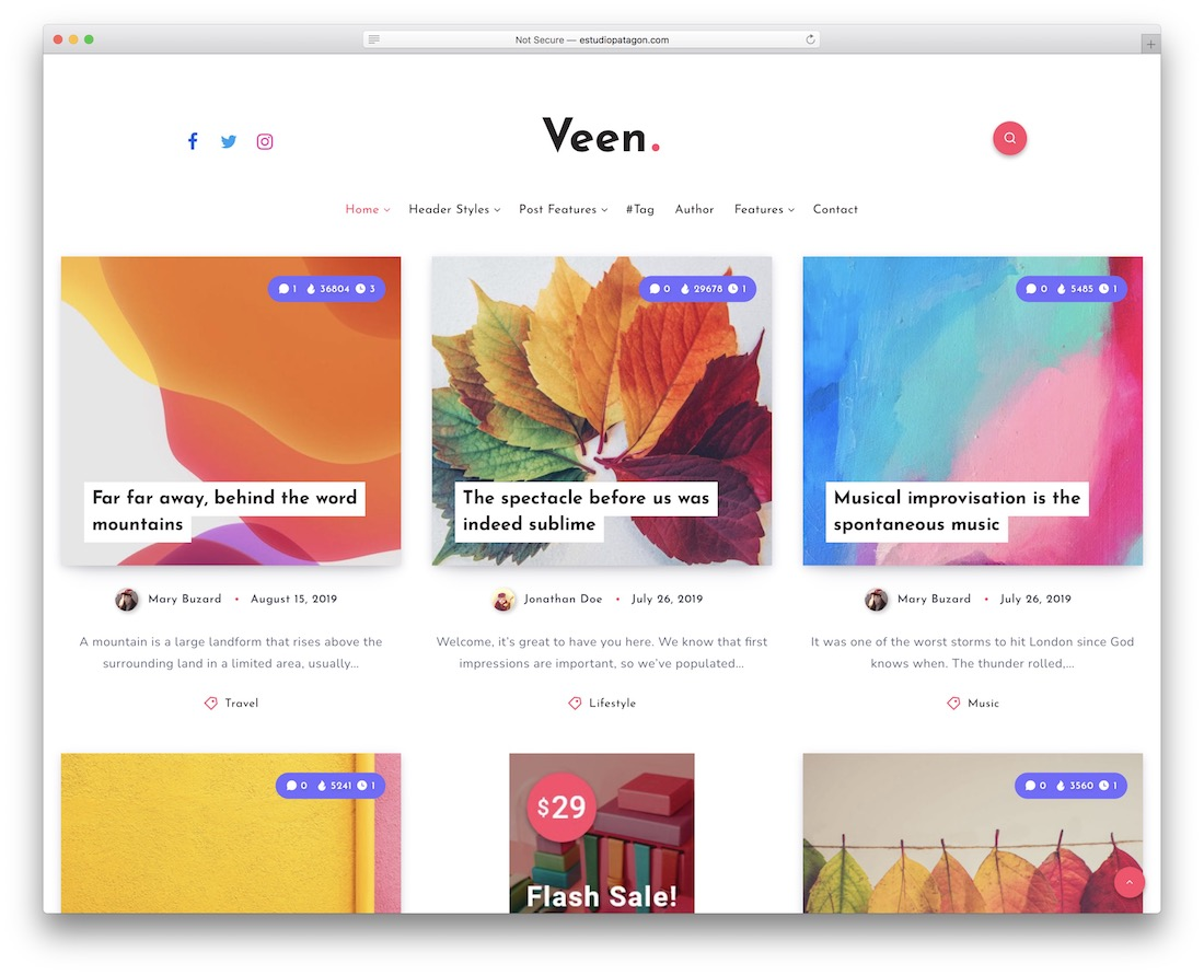 veen three column wordpress theme