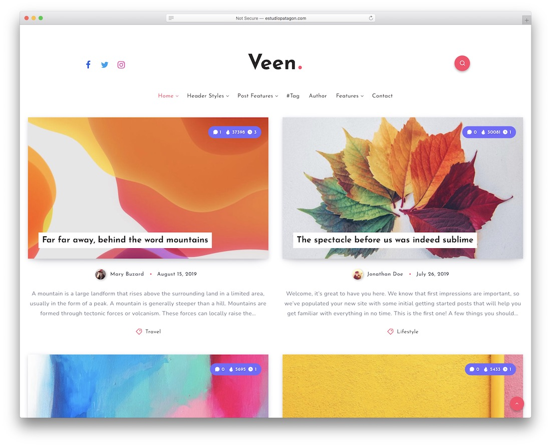 veen wordpress theme for writers