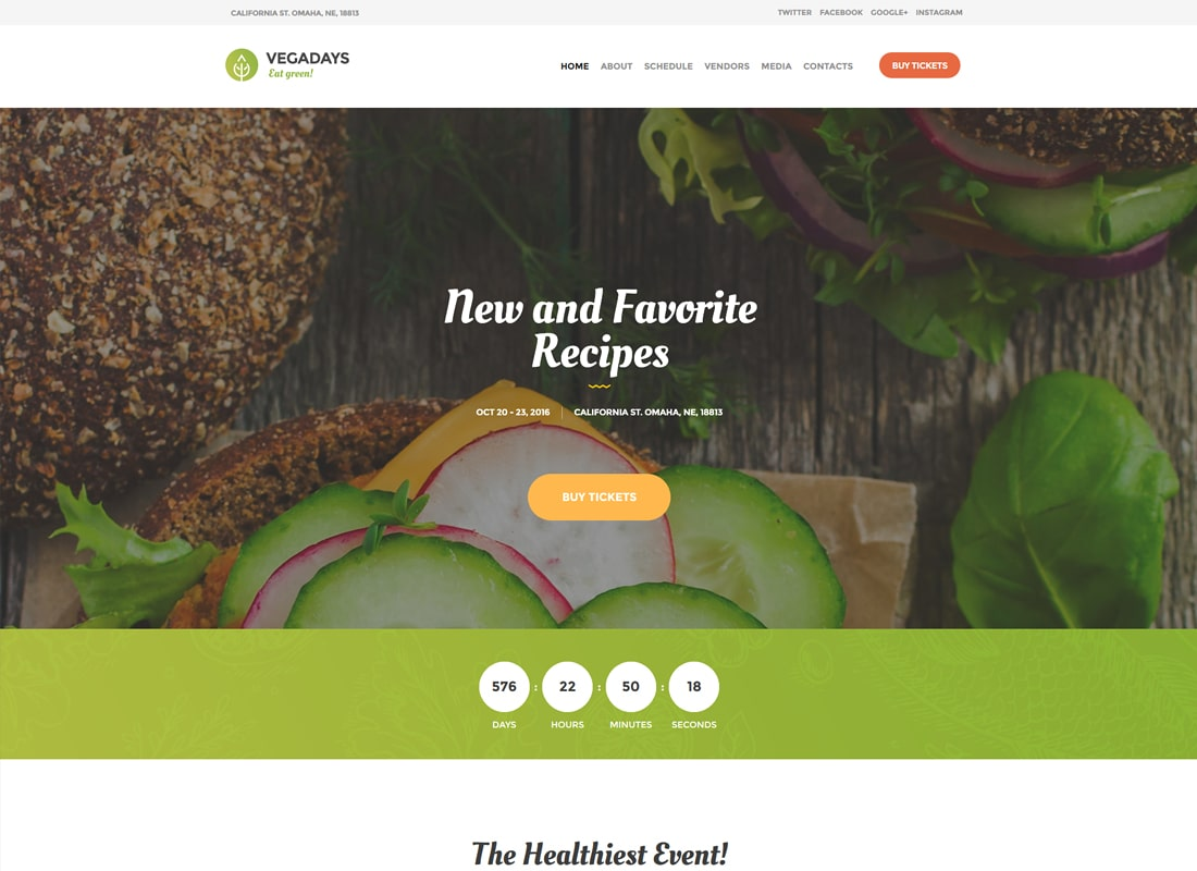 VegaDays | Vegetarian Food Festival & Event WordPress Theme