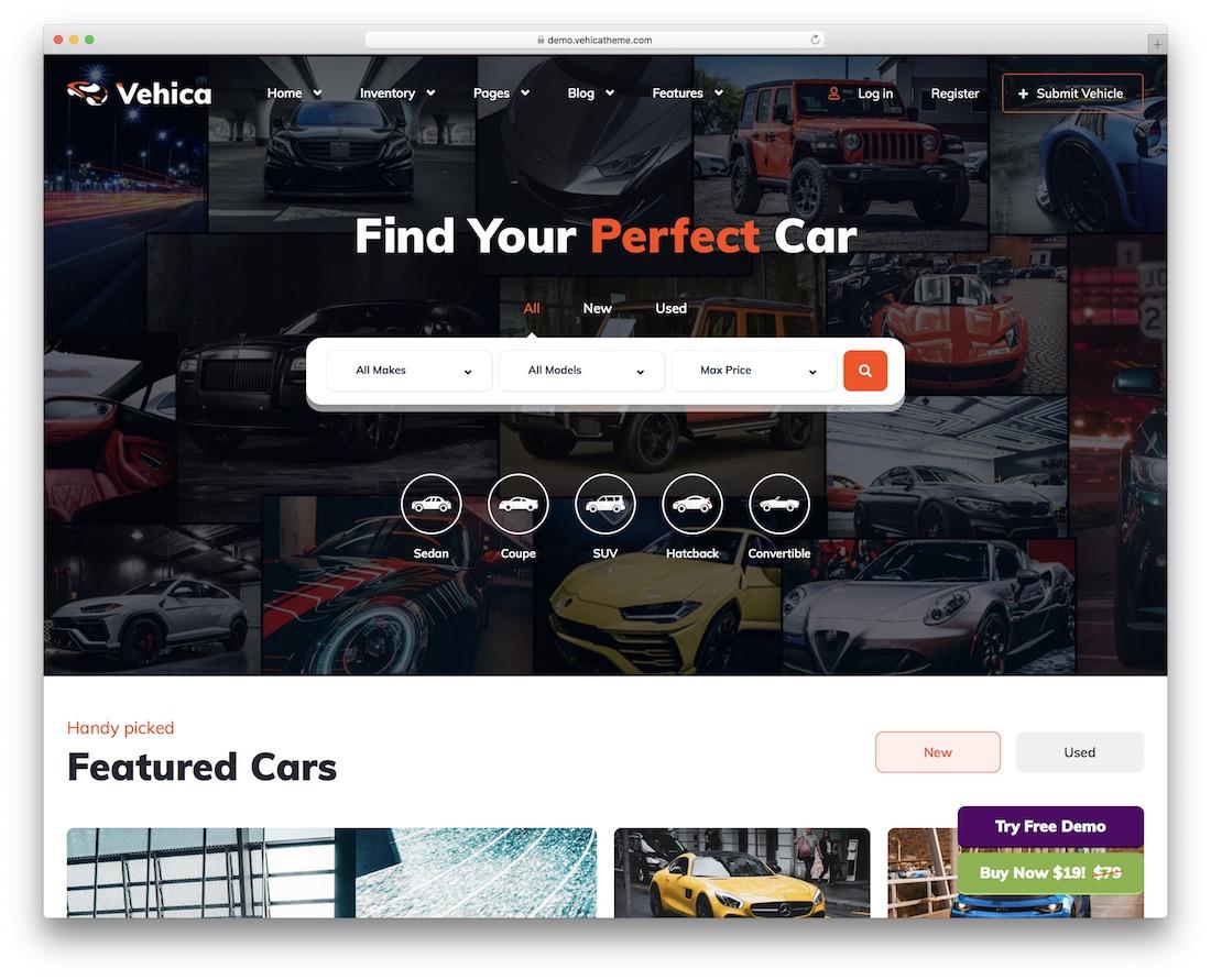 vehica automotive wordpress theme