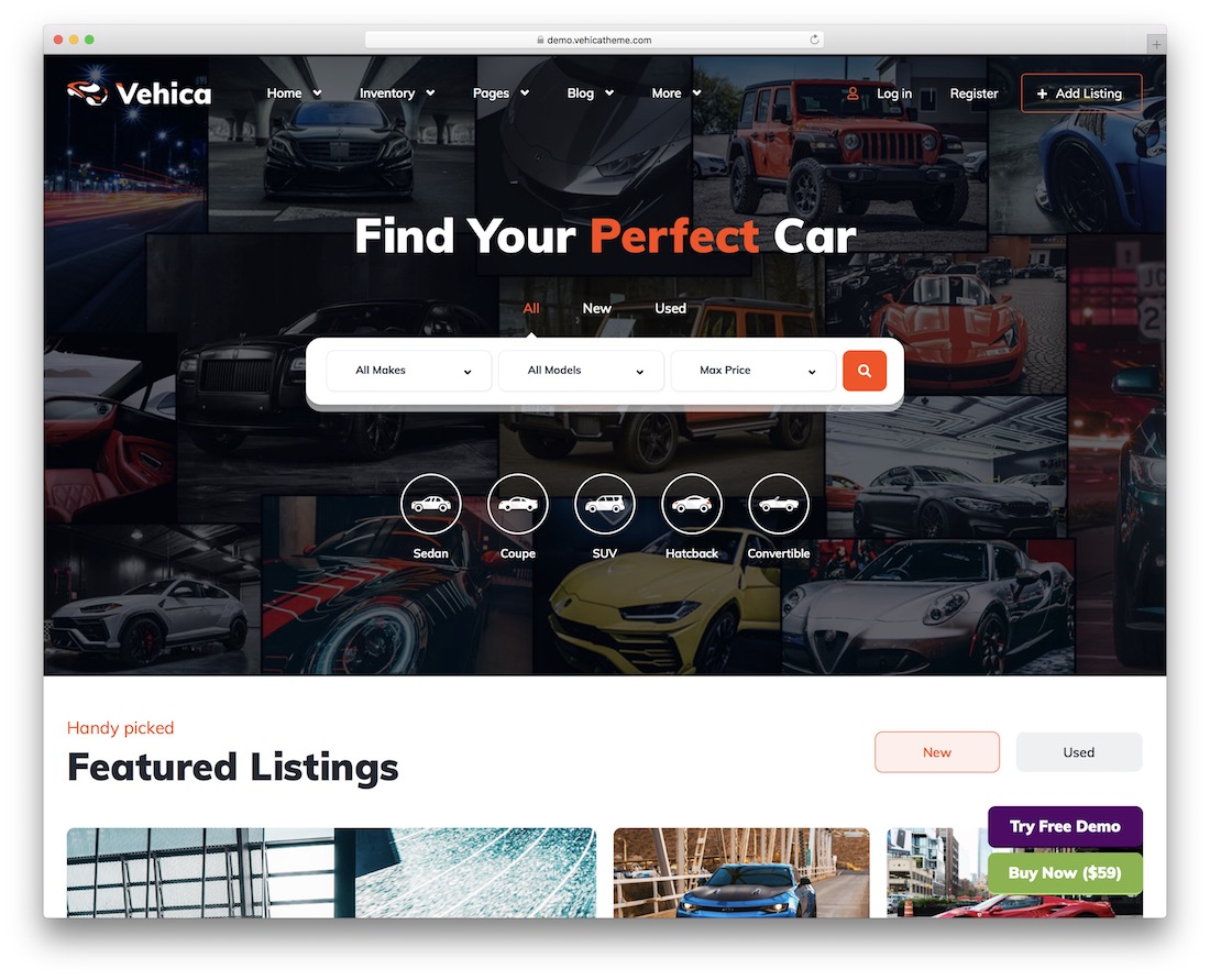 vehica car dealer wordpress theme
