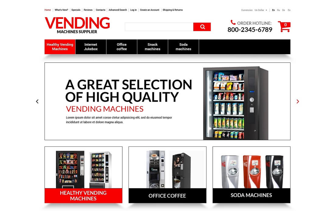vending machines oscommerce template