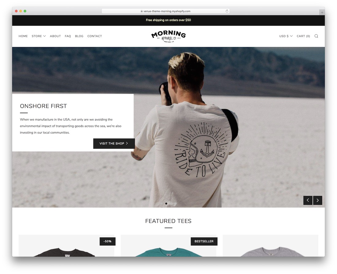 venue shopify theme for t-shirts