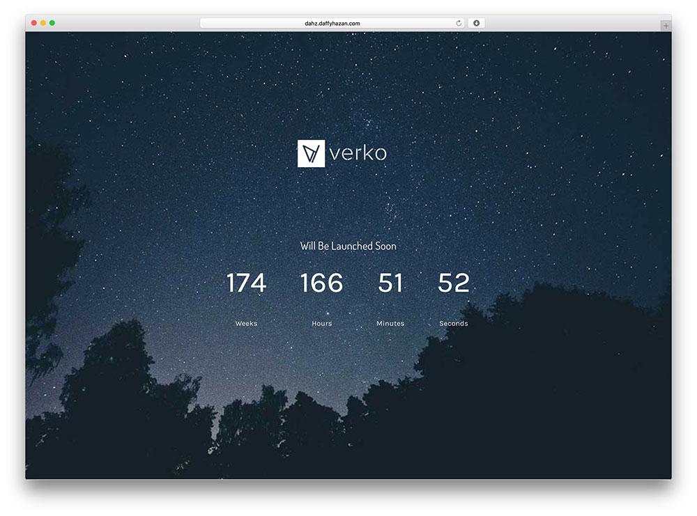 verko - coming soon WordPress theme