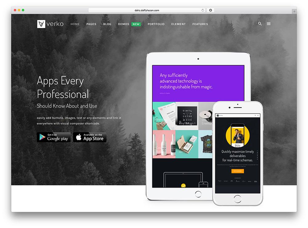 verko - one page WordPress theme